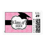 two tone pastel pink floral damask graduation stamps