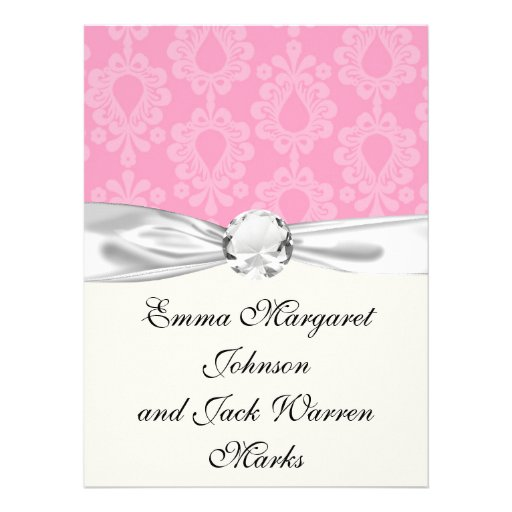 two tone pastel pink floral damask pattern announcements