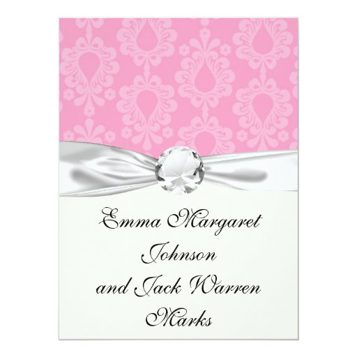 two tone pastel pink floral damask pattern 6.5x8.75 paper invitation card