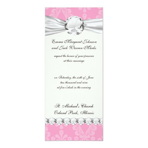 two tone pastel pink floral damask pattern invite