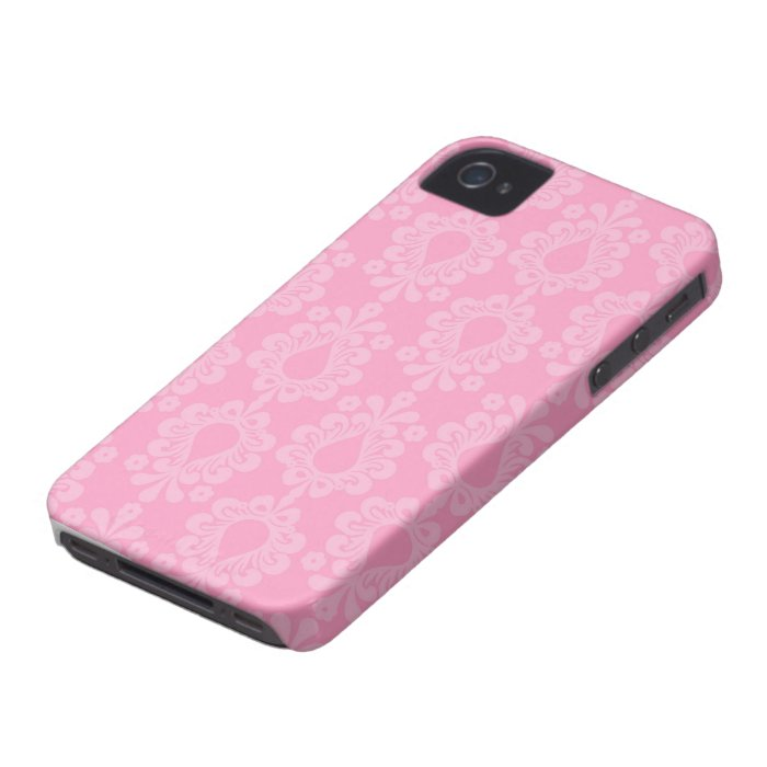 two tone pastel pink floral damask pattern iPhone 4 case