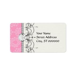 two tone pastel pink floral damask pattern label