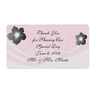 two tone pastel pink floral damask pattern shipping label