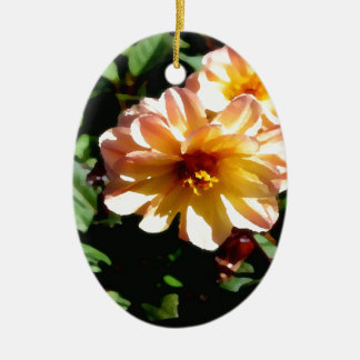 Two Tone Peach Dahlia-PhotoMagic Ceramic Ornament