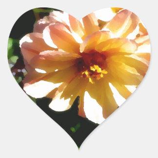 Two Tone Peach Dahlia-PhotoMagic Heart Sticker