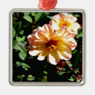 Two Tone Peach Dahlia-PhotoMagic Metal Ornament
