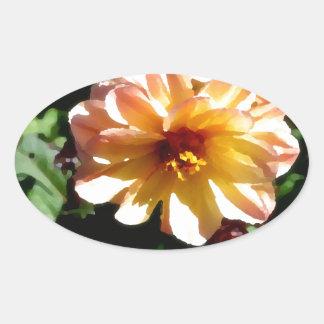 Two Tone Peach Dahlia-PhotoMagic Oval Sticker