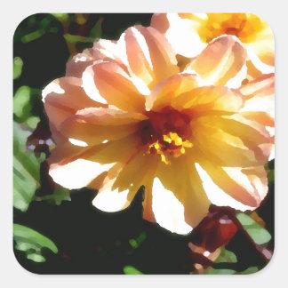 Two Tone Peach Dahlia-PhotoMagic Square Sticker
