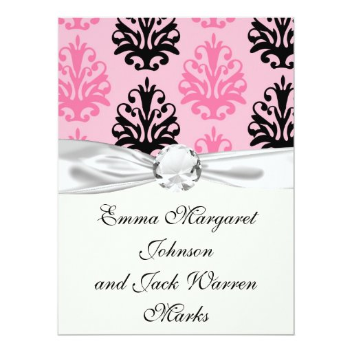 two tone pink and black chic damask 6.5x8.75 paper invitation card