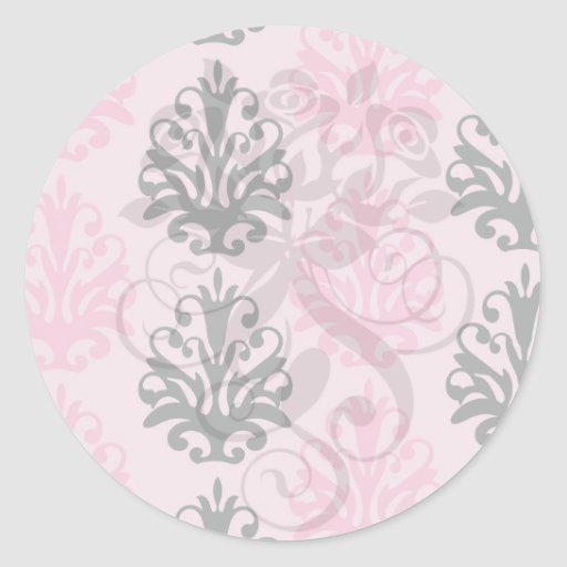 two tone pink and black chic damask classic round sticker