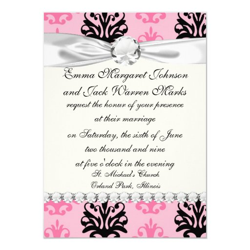 two tone pink and black chic damask personalized invitations