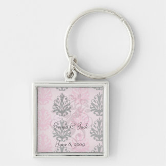 two tone pink and black chic damask key chain