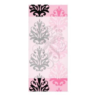 two tone pink and black chic damask customized rack card