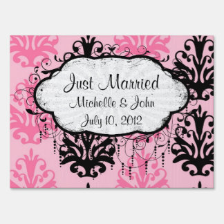 two tone pink and black chic damask sign