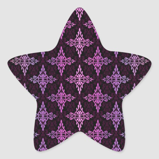 Two Tone Pink and Black Damask Star Sticker