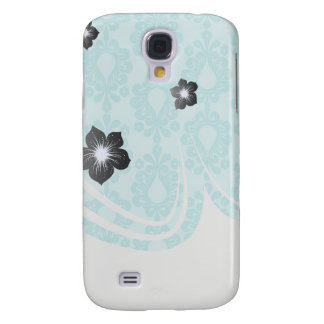 two tone pretty blue flower floral damask samsung galaxy s4 case