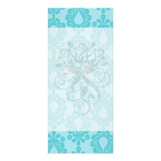 two tone pretty blue flower floral damask custom rack card