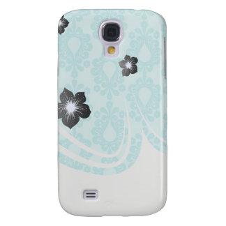 two tone pretty blue flower floral damask samsung galaxy s4 case