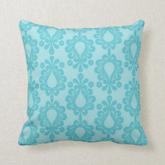 two tone pretty blue flower floral damask throw pillow