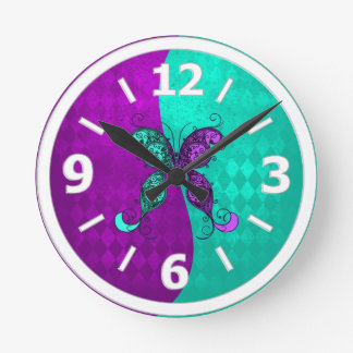 Two Tone Purple and Turquoise Teal Butterfly Round Clock
