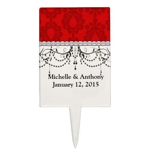 two tone red damask cake toppers