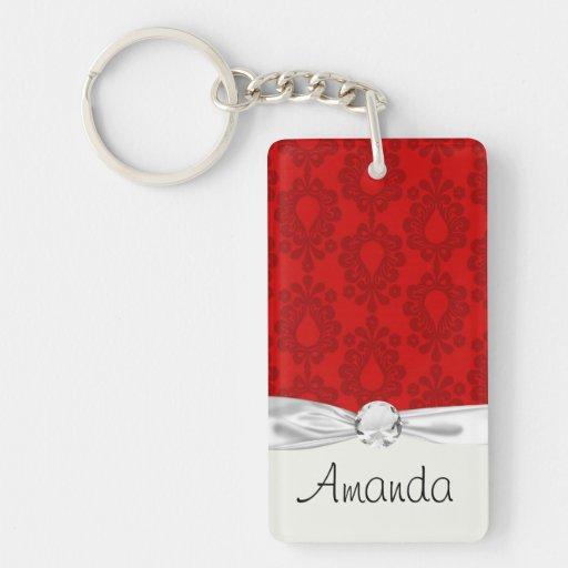 two tone red damask Single-Sided rectangular acrylic keychain