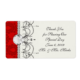 two tone red damask label