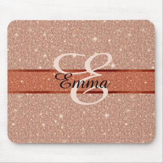 Two Tone Rose Gold Glitter Effect with Monogram Mouse Pad