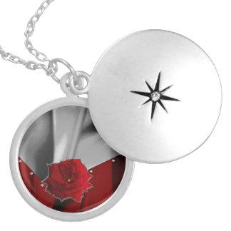 Two Tone Rose Silk Round Locket Necklace