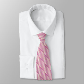 Two tone stripes dark pink and cream neck tie