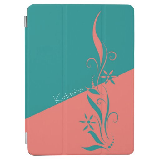 Two Tone Teal and Coral Floral Swirls iPad Air Cover