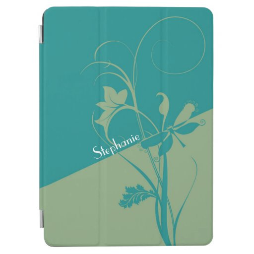 Two Tone Teal and Sage Floral Swirls iPad Air Cover