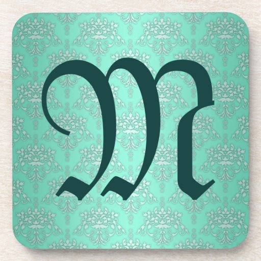 Two Tone Teal Turquoise Damask Beverage Coasters