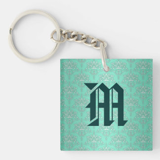 Two Tone Teal Turquoise Damask Keychain
