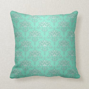 Two Tone Teal Turquoise Damask Throw Pillows