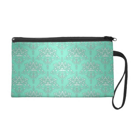 Two Tone Teal Turquoise Damask Wristlet Purse