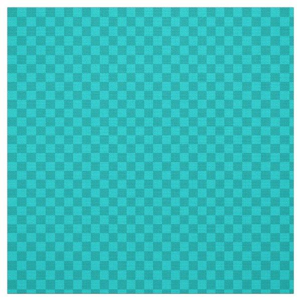 Two toned aqua gingham checkerboard fabric