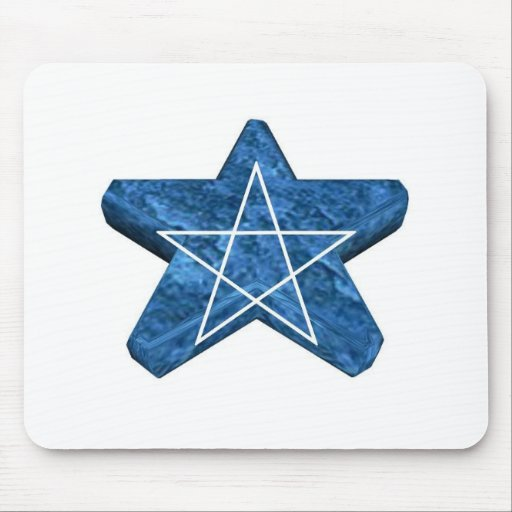 Two toned blue and white 3d pentagram gear mouse mats