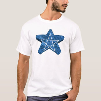 Two toned blue and white 3d pentagram gear T-Shirt