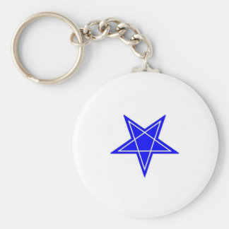 Two toned blue and white inverted pentagram gear basic round button keychain
