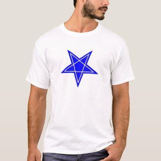 Two toned blue and white inverted pentagram gear T-Shirt