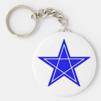 Two toned blue and white pentagram gear basic round button keychain