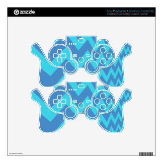 Two Toned Blue Chevron PS3 Controller Skins