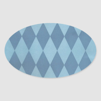 Two Toned Blue Harlequins Oval Sticker