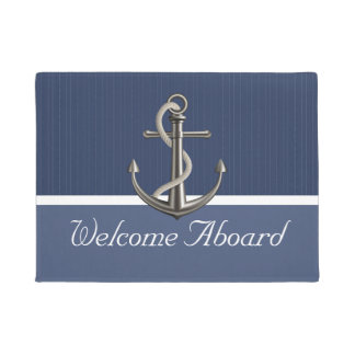 Two-toned Blue Pinstriped Anchor Doormat