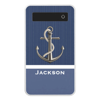 Two-toned Blue Pinstriped Anchor Power Bank
