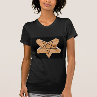 Two toned earth and black inverted 3d pentagram T-Shirt