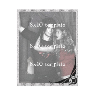 Two Toned Gray Damask Goth Wedding Canvas Print