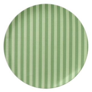 Two Toned Green Stripe Dinner Plate