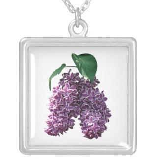 Two Toned Lilacs Square Pendant Necklace